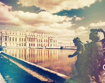 My shabby chic Paris, vintage style photo, Versailles palace in Paris, decoration art photo print