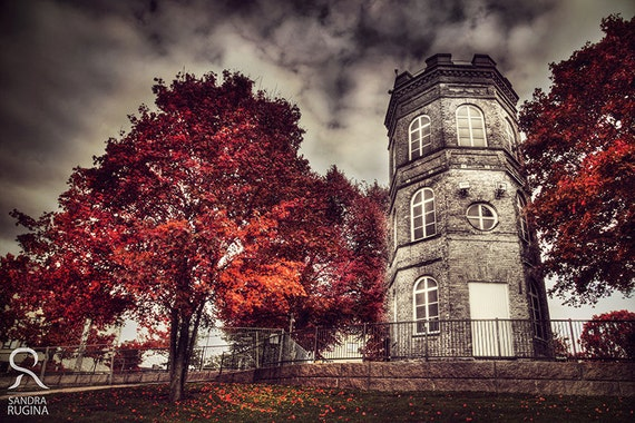 Surreal decor red tree wall art with white tower of autumn, surreal photo, red trees, Finland