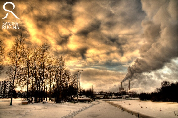 Finland - Smoke and clouds, surreal photo, factory, print you can frame for your wall, HDR photography