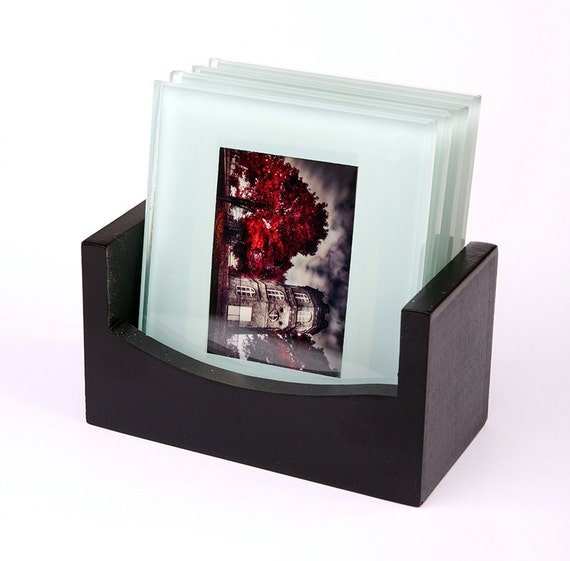 Set of 4 glass coasters with art photo prints, surreal red trees, Paris, artistic photography, with dark elegant wood holder