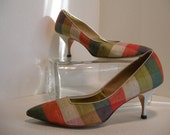 SALE 1960s Plaid Color Blocked Pumps, Orange, Cream, Olive, and Moss