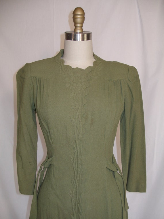 RESERVED for Daniela 1940s Olive Green Wool Crepe Dress with Trapunto Decoration