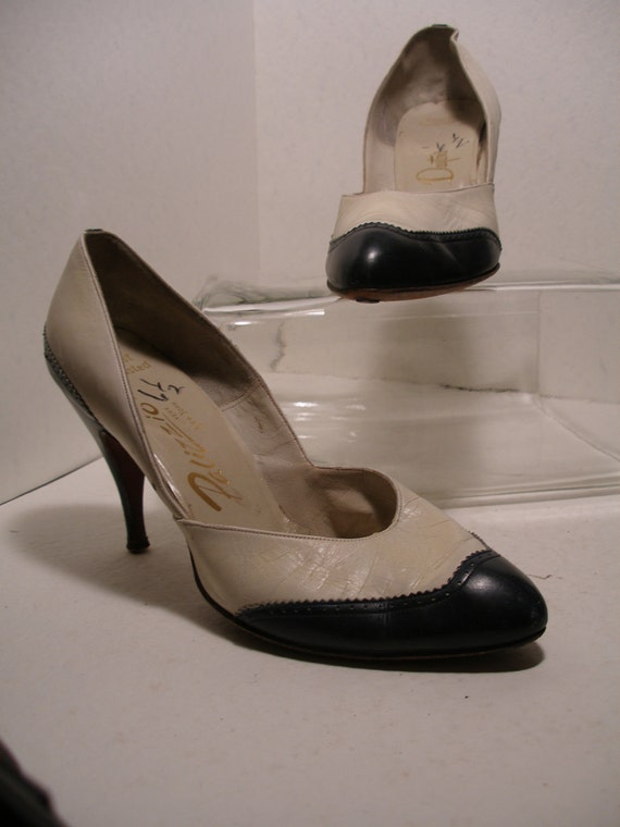 RESERVED for LUCILLE 1960s Navy and White Spectator Stiletto