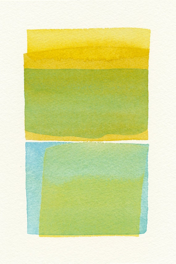 two yellows and a blue small original watercolor