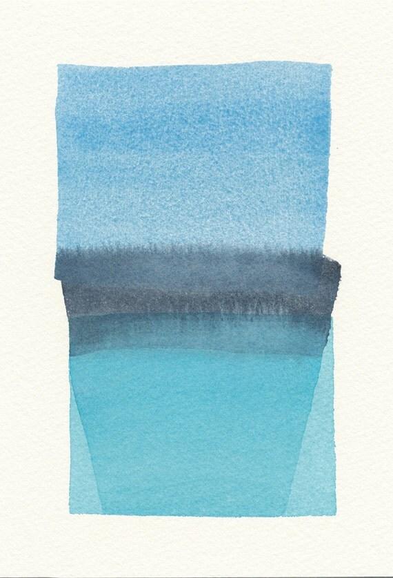 three blues original small watercolor