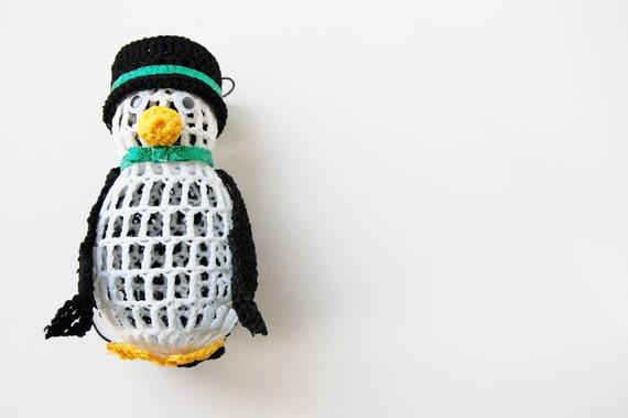 Crochet Christmas Ornament - Crochet Penguin Thread Ornament