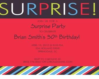 Surprise Party Invitation Stripes Custom Digital File Print Printable
