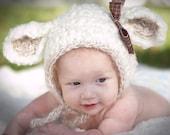 Crochet  Photo  prop  Little Lamb bonnet hat 0-3,3-6.6-12,2y