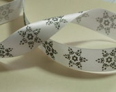 """Gorgeous Satin Ribbon with Gray/Silver Glitter Snowflake Design, 7/8"""" wide X 4 yards"""