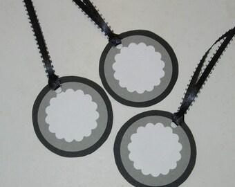 Black, gray, and white gift tags, circle, Black satin ribbon Set of 12.