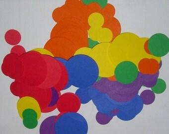 300 pcs circle cardstock confetti One inch circles Rainbow colors