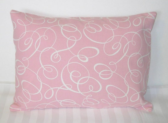 """HALF PRICE SALE!  Decorative pillow cover: Waverly pink with white swirls pattern. 12""""x 16"""" Pillow Cover."""