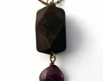 Ruby and Wood Necklace