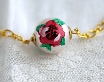 Painted Rose Pearl Necklace