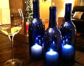 3 Blue wine bottle candle table lanterns