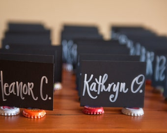 Chalkboard Placecards with Bottle cap feet - Made To Order