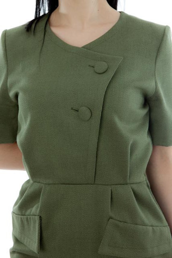 RESERVED to ROSSANA 60s Vintage Military Green Secretary Dress. Made in Italy.