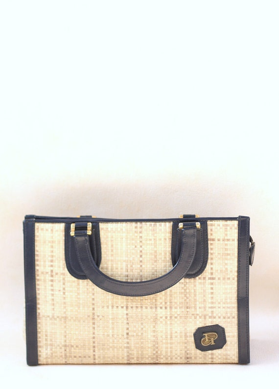 Vintage 80s straw and fake leather handbag. Made in Italy.