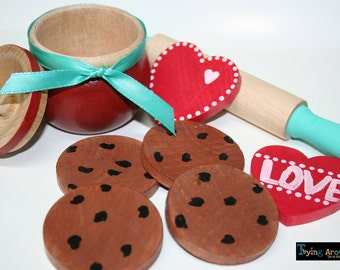 Natural Wood Chocolate Chip Cookies, Heart Cookies and Rolling Pin Hand Painted For The Baker in Your Kitchen-