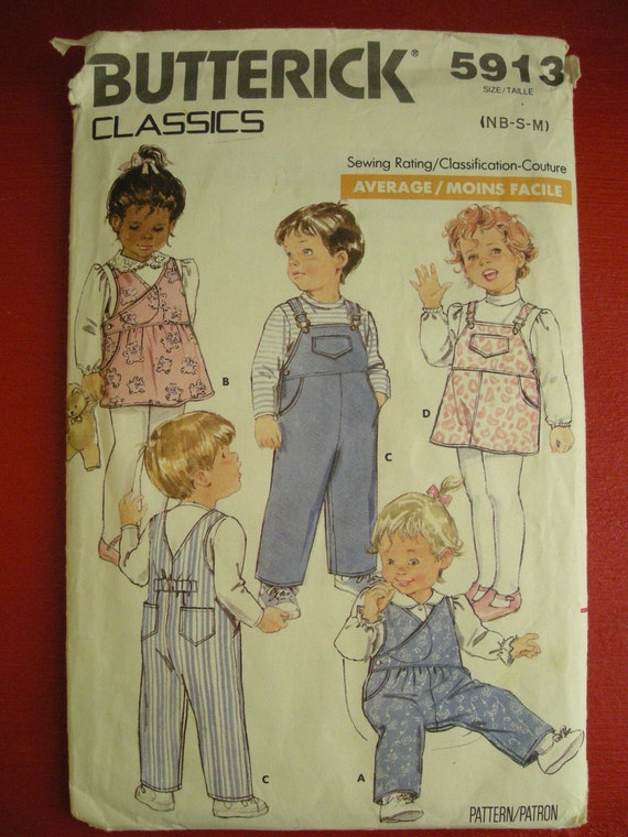 Vintage 1987 BUTTERICK Pattern 5913  Overalls and Jumper  SIZE (NB-S-M)