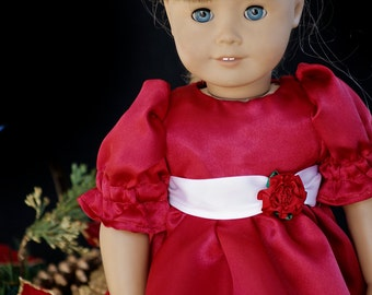 """American Doll Clothes Girl 18"""" Fancy Red Satin Dress with White Ribbon Sash and Hair Ribbon"""