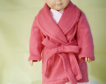 """American Doll Clothes Girl 18"""" Fleece Robe with Tie - NOW CUSTOMIZABLE"""