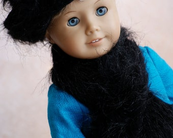 "Doll Clothes Girl American 18"" Black Fuzzy Winter Hat and Scarf Set"