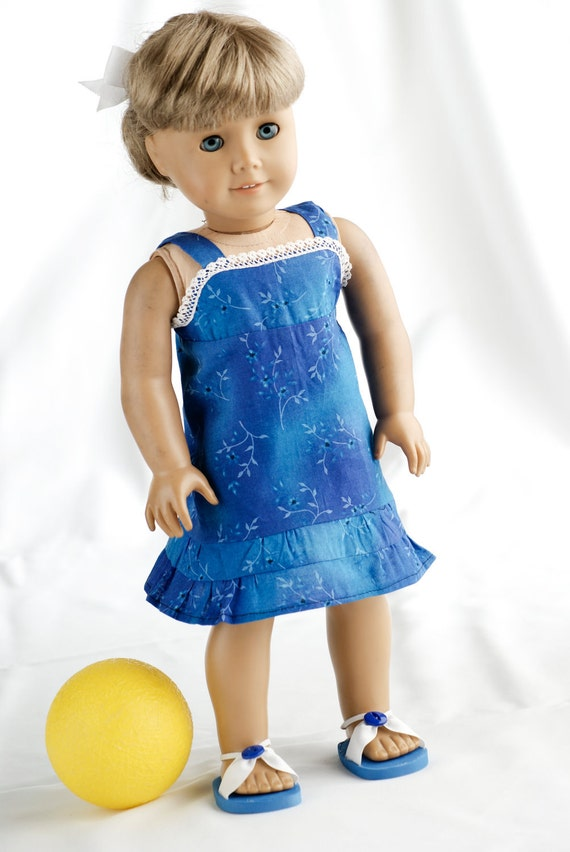 American Girl Doll Clothes Breezy Casual Sun Dress and Summer Blue Sandals