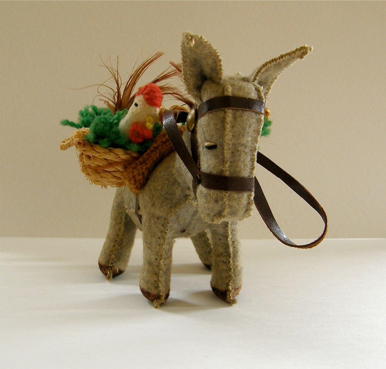 Toys For Ornaments : Christmas donkey toy ornament vintage felt