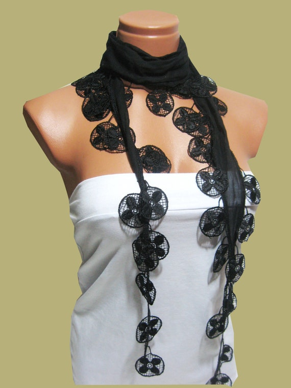 Traditional Turkish Fabric Fringed BLACK Guipure Scarf ..bandana,headband,wedding,authentic, elegant, fashion