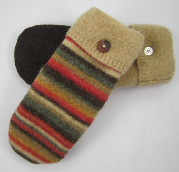 Felted Wool Sweater Mittens - Stripes of Orange, Tan ,Green, And Brown