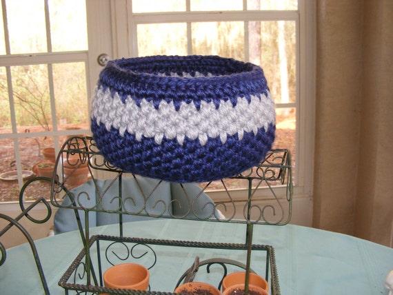 Unique Crochet Storage Basket in Dallas Cowboy inspired Blue and Silver Grey