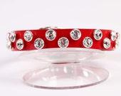 Red Leather Dog Collar w Swarovski Crystals