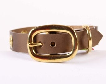 Bronze Pearl Leather Dog Collar with Grommets