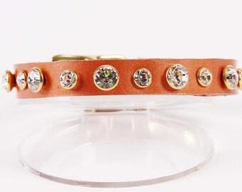 Copper Pearl Dog Collar w Swarovski Crystals