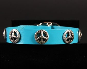 Turquoise Leather Dog Collar w Peace Signs