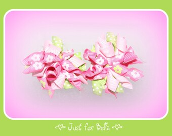 Lime and Pink Daisies Korker Dog Bows