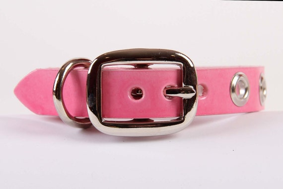 Pink Leather Dog Collar with Grommets