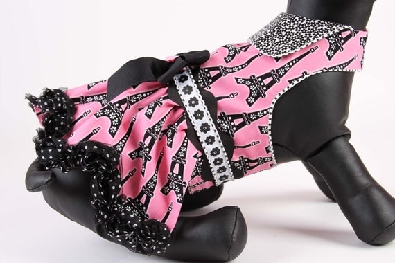 SPRING:   Springtime in Paris Pink DOG DRESS
