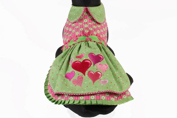 DOG DRESS Valentine Hearts -- Size Medium