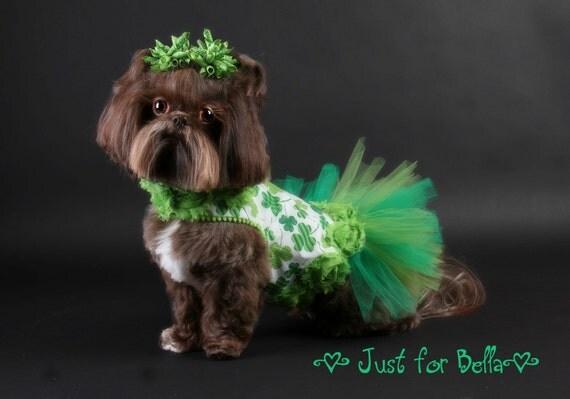 St Patricks Day Shamrock Dog Dress Tutu