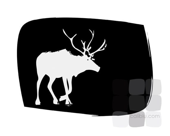 Reindeer Walking - 8x10 Modern Art Print