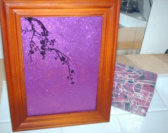Cherry Blossom Branch Marble Glass Table Art