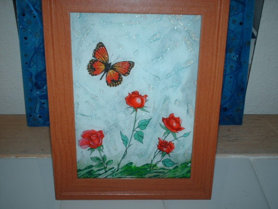 Rose Nectar Butterfly Glass Table Art