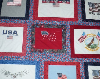 Americana Red, White and Blue TShirt Quilt