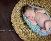 Beautiful Soft Teal Cocoon/Egg Bowl- Newborn Photo Prop