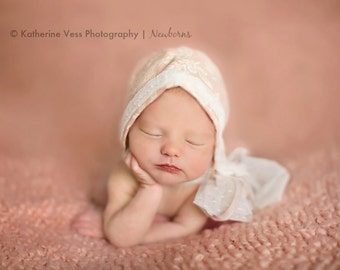 Victorian Inspired Pink and Lace Bonnet- Profesional Photography Prop