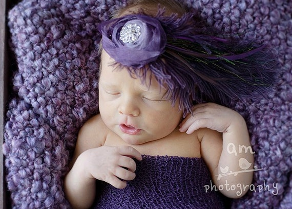 Couture Large Purple Feathered Headband with Satin Flower and Rhinestone Button- Photography Prop