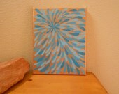 Painting Turquoise and Bronze Flower Aboriginal Inspired 8 x 10