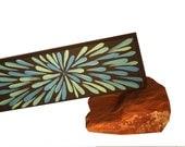 Painting, Blue Flower, Aboriginal Inspired, 4 x 12 Custom for Deb
